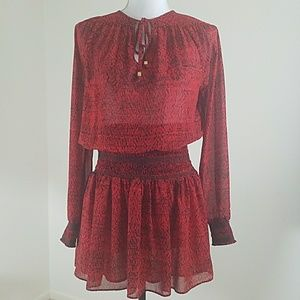 MICHAEL KORS~Size S~Red/Black Long Sleeve Blouse.